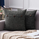 MIULEE Set of 2 Decorative Linen Throw Pillow Covers Cushion Case Triple Button Vintage Farmhouse Pillowcase for Couch Sofa Bed 26 x 26 Inch Navy Blue