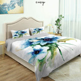 Homenon Bedding Sheet Modern Bed Sets Pale Soft Colored Petite Roses in Vintage Old Style Retro for Teen 3 Pieces (1 Quilt Cover, 2 Pillowcases) (Queen)