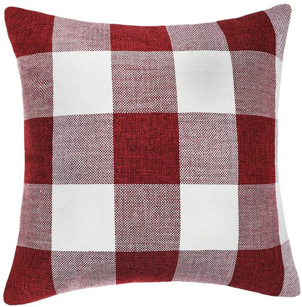 4TH Emotion Red White Christmas Buffalo Checkers Plaids Throw Pillow Cover Cushion Case Cotton Linen Home Decorations for Sofa 20 x 20 Inch
