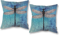 ONWAY Outdoor Dragonfly Decor Blue and Green Dragonfly Pillow Covers 18 x 18 Inches for Garden and Yard, Set of 2