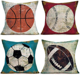 "Doitely American Ball Sports Cotton Linen Cushion Cover Retro Vintage Background Basketball Football Softball Rugby 18""X18"" Square Decorative Throw Pillow Case, Set of 4"