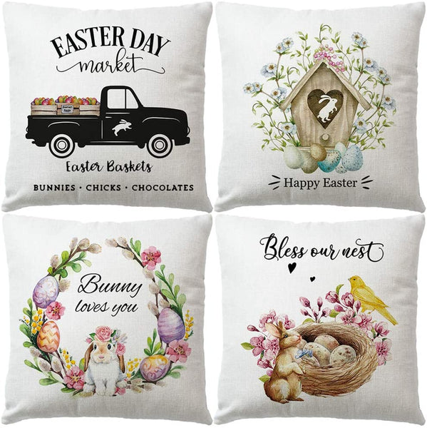 "4Pack Happy Easter Rabbit Pillow Covers With Spring Flower & Colorful Eggs &Vintage Truck Cushion Cover Bunny Loves Your Farmhouse Cotton Linen Home Decor Pillowcases 18"" x 18""(Happy Easter)"