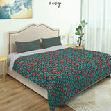 Homenon Modern Quilt Cover Bedding Set Bohemian Colorful Shapes Ornamental Illustration Vintage Cotton Quilt Cover and 2 Pillowcases Bedding 3 Piece Duvet Cover Set (King)
