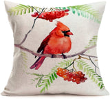 Xihomeli Vintage Red Bird Pillow Cases Decorative Cotton Linen Cardinal with Tree Branches Flower Painting Pillow Cover Square Throw Pillow Cover 18 x 18 Inch, Set of 4 (4 Pack Red Bird)