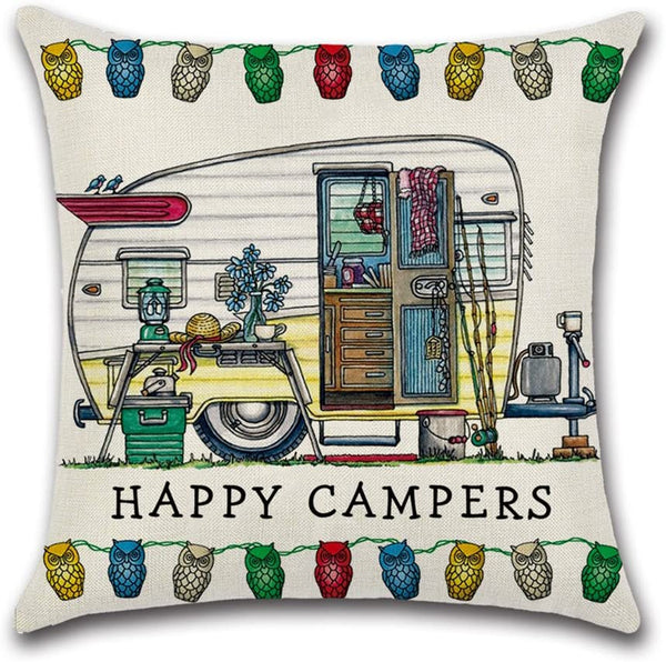 "YANGYULU Cute RV Vintage Camper Travel Trailer Cotton Linen Home Decorative Throw Pillow Case Sofa Cushion Cover 18"" x 18"" (STYLY02)"