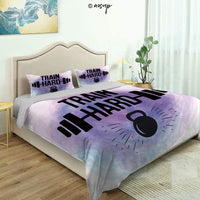 Homenon 3 Piece Bedding Set 3D Printed Quilts Cover with 2 Pillow Cover, Strong Arm with Text Yes You Can Hand Drawn Vintage Grunge Positive Queen/King Size Bedding Sets (Queen)