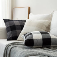 MIULEE Classic Retro Checkers Plaids Cotton Linen Soft Solid Black and White Decorative Throw Pillow Covers Home Decor Design Cushion Case for Sofa Bedroom Car 24 x 24 Inch 60 x 60 cm