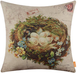 LINKWELL 18x18 inches Vintage Bird Nest Burlap Throw Pillow Cover Cushion Cover (CC1359)