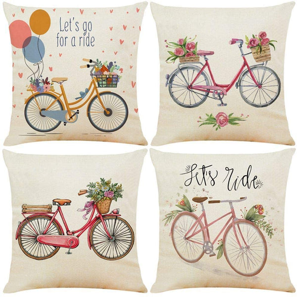Guhoo Watercolor Bicycle Throw Pillow Cover Vintage Retro Flower Home Decorative Cushion Case 18 x 18 Inch for Sofa Couch Car Decor