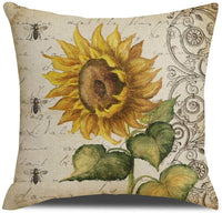 "KACOPOL Set of 4 Fall Decorative Pillow Covers Rustic Farmhouse Vintage Truck with Sunflower Home Sweet Farm Decorative Cotton Linen Throw Pillow Case Cushion Cover 18"" x 18""(Sunflowers)"