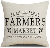 "KACOPOL Rustic Farmhouse Style Farmers Market Quotes Pillow Covers Farmhouse Seeds Stems Bloom Home Decorative Throw Pillow Case Cushion Cover for Sofa Couch 18"" X 18""(Farmers Market)"