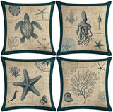"7COLORROOM Set of 4 Sea Theme Pillow Covers Vintage Ocean with Sea Turtle/Starfish/Sea Horse/0ctopus Cushion Cover Beach Costal Style Home Decorative Pillowcases 18""×18"" (Vintage Sea)"