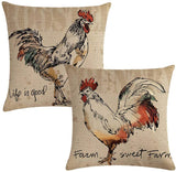 "7COLORROOM 2 Pack Rustic Farmhouse Rooster Throw Pillow Covers Poultry Chicken Farm Sweet Farm Home Decorative Cushion Cover Pillow Cases 18""x 18"""