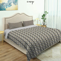 Homenon Bedding Sheet Modern Bed Sets Various Size Cubic and Square Form Pattern Design Vintage Style Retro for Teen 3 Pieces (1 Quilt Cover, 2 Pillowcases) (King)