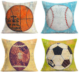 "Hopyeer Vintage Sport Theme Throw Pillow Covers Cotton Linen Basketball, Baseball, Rugby, Football Pattern Pillow Cases Standard Cushion Cover Decor Home Sofa Car 18""x18"", Colorful,4Set (VS-Ball)"