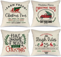 AENEY Farmhouse Christmas Pillow Covers 18x18 inch Set of 4 for Home Decor Red Truck Christmas Decor Winter Holiday Rustic Farm Sign Christmas Pillows Christmas Decorations Throw Pillow Covers