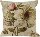 HGOD DESIGNS Throw Pillow Case Vintage Flower Print Cotton Linen Square Cushion Cover Standard Pillowcase for Men Women Home Decorative Sofa Armchair Bedroom Livingroom 18 x 18 inch