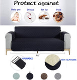 NEKOCAT Loveseat Slipcover,Couch Cover Protector Waterproof Anti-Slip Slipcover for 2 Cushion Loveseat Furniture Protection from Pets, Cat, Kids,Spills,Seat Width up to 46 Inch (Loveseat,Navy)