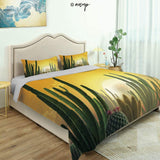Homenon Modern Quilt Cover Bedding Set Thorny Vintage Hawaiian Nature Flourishing Succulents and Cactus Cotton Quilt Cover and 2 Pillowcases Bedding 3 Piece Duvet Cover Set (King)