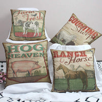 ULOVE LOVE YOURSELF 4Pack Vintage Farmhouse Pillow Covers with Hog Sheep Cow Horse Pattern Farmer Fresh Cushion Covers 18 x 18 Inch Pillowcase for Farmhouse Decor