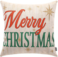 TRENDIN Vintage Christmas Merry Throw Pillow Cover Home Decorative Cushion Case 20 x 12 inch Cotton Linen for Sofa PL249TR