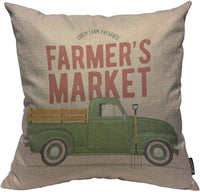 Mugod Farmer's Market Decoration Throw Pillow Cushion Covers Vintage Styled with The Old School Farmer's Green Pickup Truck Decorator Funny Pillows for Sofa Home Decor Couch Pillow Case 18 X 18 Inch