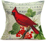 Asamour Retro Adorable Animals and Beautiful Green Plant Series Cotton Linen Throw Waist Pillow Case Cushion Cover Quotes Decorative Square Home Farmhouse Pillow Sham 18x18 Inches (Vintage Bird)