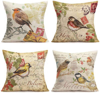 "Fukeen Set of 4 Vintage Birds on Branch Decorative Pillow Case Rustic Style Cotton Linen Throw Cushion Covers Spring Farmhouse Office Decor Believe Hope Words Pillow Protectors Square 18""x18"""