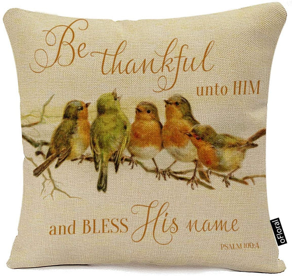 oFloral Throw Pillow Cover Orange Vintage Be Thankful Unto Him Bless His Green Scripture Decorative Pillow Case Home Decor Square 18 x 18 Inch Pillowcase Cotton Linen