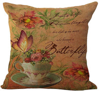 ChezMax Linen Blend Classical Flowers Print Cushion Cover Cotton Pillowslip Square Decorative Throw Pillow Case 18 X 18''