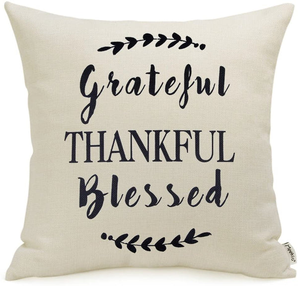 Meekio Farmhouse Decorative Throw Pillow Covers with Grateful Thankful Blessed Quotes Thank You Gifts 18 x 18 Inch