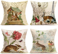 "Asminifor Vintage Animal Rabbit Bunny with Quote Lettering Decorative Pillow Covers Pack of 4 Farmhouse Decor 18"" x 18"" Home Sofa Pillowcase Cushion Cover (Vintage Rabbit)"