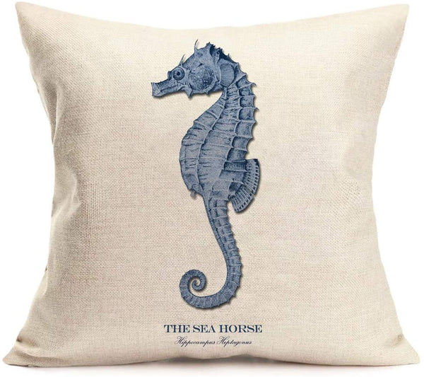 Fukeen Ocean Sea Theme Throw Pillow Covers Coastal Beach Scallop Decorative Pillow Cases Cotton Linen 18x18 Inch Standard Cushion Cover Marine Life Home Wedding Decor (Marine Scallop)
