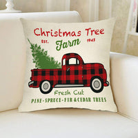 "Softxpp Christmas Farmhouse Decorative Throw Pillow Cover Vintage Red Buffalo Plaid Truck Winter Holiday Decoration Xmas Tree Farm Sign Home Decor Cushion Case for Sofa Couch 18"" x 18"" In Cotton Linen"