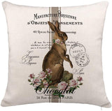 "YOENYY Rabbit Easter Throw Pillow Cover Cushion Case for Sofa Couch Vintage French Shabby Chic Bunny Home Decor Cotton Linen 18"" x 18"""