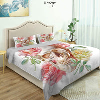 Homenon 3 Piece Queen/King Size Bedroom Decor Nautical with Victorian Roses Peonies Vintage Art Decor Quilts Cover with 2 Pillow Cover for Children Teen Boy Adult Beding Set (King)