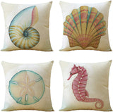WOMHOPE Set of 4 Throw Pillow Covers Vintage Coastal Nautical Beach Shell Pillow Cases Square Cushion Cases Burlap Toss 18 x 18 Inch for Living Room,Couch and Bed (Blue Starfish)