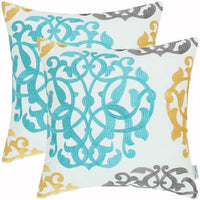 CaliTime Pack of 2 Cotton Throw Pillow Cases Covers for Bed Couch Sofa Vintage Compass Geometric Floral Embroidered 18 X 18 Inches Medium Grey/Teal/Gold