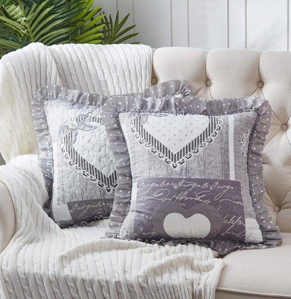 Brilliant Sunshine Patchwork Ruffle Pillow Cushion Covers Heart Love Vintage Print Quilted Scroll Embroidery Layers with Soft Filling Cases 18 x18 inch, Grey/White
