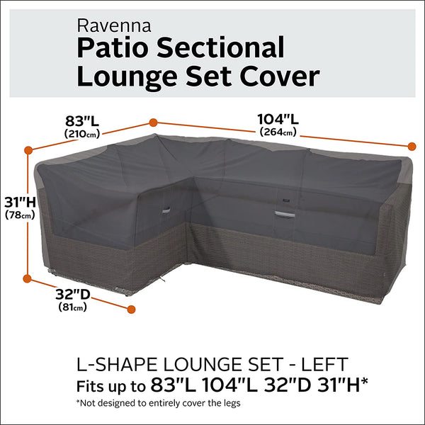 Classic Accessories Ravenna Water-Resistant 104 Inch Patio Left Facing Sectional Lounge Set Cover