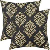 CaliTime Pack of 2 Soft Jacquard Throw Pillow Covers Cases for Couch Sofa Home Decoration Vintage Diamond Shape Damask Floral 18 X 18 Inches Burgundy Gold