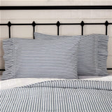VHC Brands Farmhouse Bedding Sawyer Mill Ticking Cotton Striped Standard Pillow Case Set of 2, Charcoal Dark Creme White