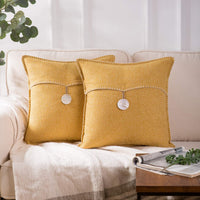 Phantoscope Pack of 2 Natural Shell Button Throw Pillow Covers Farmhouse Luxury Vintage Hand Embroidery White Thread Trimmed Decorative Yellow Pillows, 18 x 18 inches, 45 x 45 cm