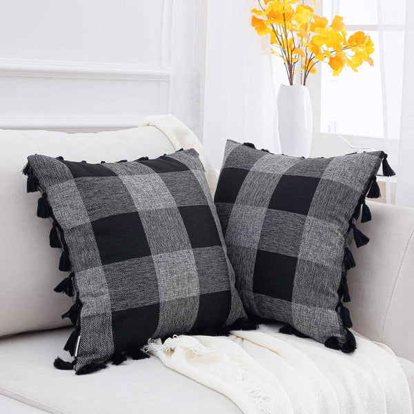 Topfinel Buffalo Check Decorative Throw Pillow Covers 16 x 16 Inch Cotton Linen Classic Plaid Cushion Cover with Boho Tassels for Couch Car Decor 40 x 40 cm, Pack of 2, Black & Grey