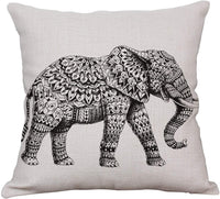 YeeJu Elephant Decorative Throw Pillow Covers Square Cotton Linen Cushion Covers Outdoor Sofa Home Pillow Covers 18x18 Inch