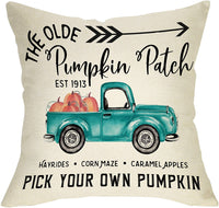 "Softxpp The Olde Pumpkin Patch Decoration Fall Farmhouse Throw Pillow Cover Vintage Truck Sign Thanksgiving Day Autumn Harvest Home Decor Cushion Case Decorative for Sofa Couch 18"" x 18"" Cotton Linen"
