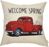 Fahrendom Welcome Spring Vintage Red Truck with Flower Rustic Farmhouse Style Seasonal Sign Cotton Linen Home Decorative Throw Pillow Case Cushion Cover with Words for Sofa Couch, 18 x 18 in