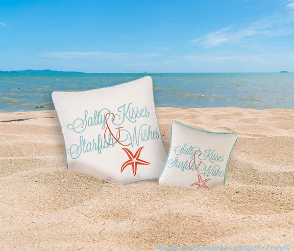 "C&F Home 10"" Embroidery Pillow, Salty Kisses Starfish Wishes Decorative Throw Pillow For Sofa Couch or Bed"