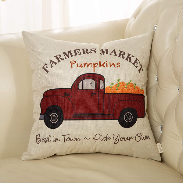 "Fjfz Fall Farmhouse Decorative Throw Pillow Cover Autumn Farmer Market Pumpkin Sign Decoration Vintage Red Truck Rustic Home Decor Cotton Linen Cushion Case for Sofa Couch, 18"" x 18"""