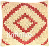 iinfinize - Indian Traditional Pillow Case Wool Jute Cushion Cover Square Shape Handwoven Kilim Vintage Rustic Pillow Boho Decorative Throw Gorgeous Sofa Shams Bed Pillow Hippie Decor Bohemian 18""